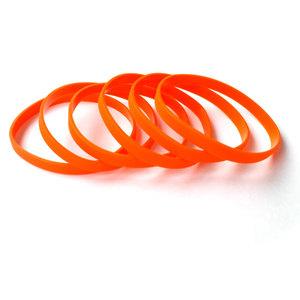 Силиконовый браслет оранжевый (PMS 021С) узкий (202*6*2 мм)