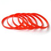 Силиконовый браслет красный PMS1795C узкий (202*6*2 мм)